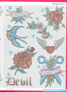 Tattoo cross stitch 3 of 3 Many hearts. Instead of a tattoo on your delicate flesh cross stitch a heart themed project for St Valentine day