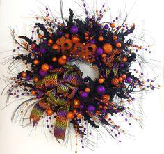 Halloween Wreath * Boo Wreath * Orange Purple and Black Wreath * Halloween Decor…