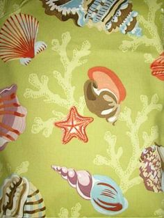 "Coral Beach Algae.  P. Kaufmann Fabric 100% cotton fine line twill coral and shell print. 27"" repeat. 54"" wide."