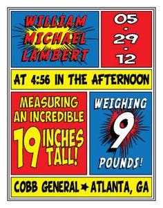 SUPERHERO COMIC BOOK Inspired Birth Announcement 11x14 Digital Latex Print. $10.00, via Etsy.