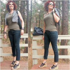 #OutfitOfTheDay... Army green tank  black jeans #upcycled vest (formerly a jacket). Chill outfits can be stylish too.  A surprise is coming next week... Stay tuned.  Remember consignment second hand used... all are good for the planet! Love your Mother!!  Almost all clothing choices thanks to #ConsignmentShopping and/or other #TreasureHunting!! #Recycled style is always in style! ............. #ThisAgeOfBeauty #LuminousUniverse #Inspiration #ConsignmentFashion  #SustainableShopping…
