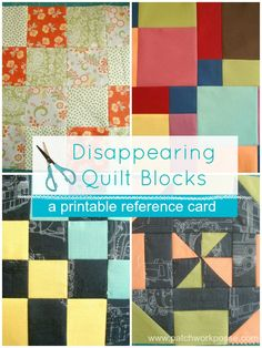 Printable Disappearing Quilt Block How To's | quilt design, disappear quilt, printabl disappear, contemporari quilt, block set, quilt blocks, quilt bind, quilt tutori, quilt pattern