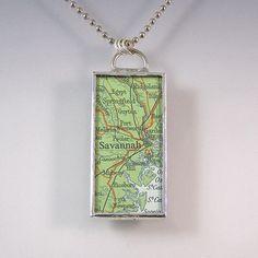 Savannah Georgia Map Pendant Necklace by XOHandworks