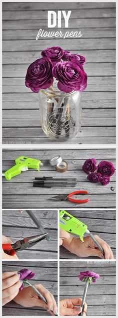 DIY Washi Tape Craft and Gift Ideas   DIY Flower Pens by DIY Ready at http://diyready.com/100-creative-ways-to-use-washi-tape/