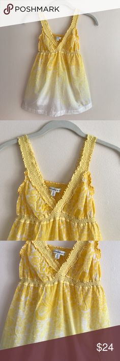 """Abercrombie & Fitch yellow ombré tank Abercrombie & Fitch yellow ombré floral cotton tank w/stretchy straps - semi-sheer towards bottom where it's white - measures 23"""" long - perfect condition never worn Abercrombie & Fitch Tops Tank Tops"""
