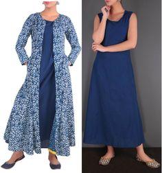 Two piece Indigo plain long dress with printed jacket