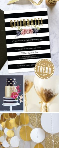 These stunning black & white stripe & floral invitations with a splash of gold glitter are only $1.25 each! They look amazing with a black envelope and gold glitter envelope liner! Black Envelopes, Mint Party, Gold Party, Floral Invitation, Invitation Design, Paper Divas, Floral Stripe, Envelope Liners