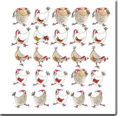Multi Chicken Christmas Card