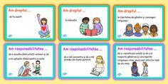 Drepturile și responsabilitățile copilului - Cartonașe - Acest material conține cartonașe care au în vedere drepturile și responsabilitățile copiilor. Rights And Responsibilities, School Lessons, Google Drive, Personal Development, No Response, Poster, Crafts, Rome, Manualidades