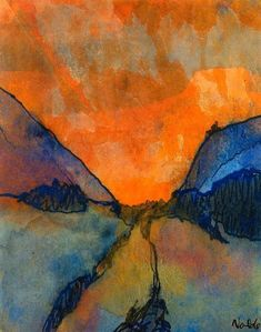 Emil Nolde (german, 1867-1956), Berglandschaft, Tal mit Abendrot (Mountain landscape, valley with sunset)
