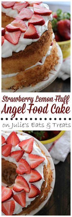 Strawberry Lemon Fluff Angel Food Cake ~ Light, Fluffy Angel Food Cake Pilled with Light & Creamy Lemon Filling and Fresh Strawberries! @TruviaBrand