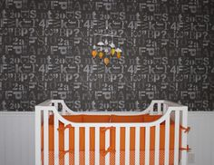 Orange Crib Bedding is the perfect pop in this modern nursery!