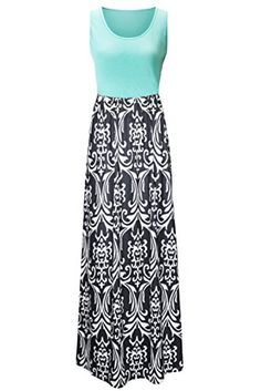 Zattcas Womens Summer Contrast Sleeveless Tank Top Floral Print Maxi Dress      Click here 0f8350d838