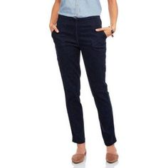 Real Size Special Value Women's Straight Leg Pull-On Jeans with Super Stretch Denim, Size: 10, Blue