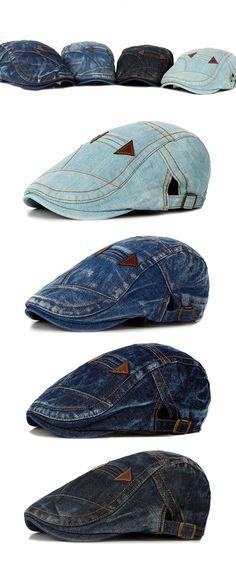 Fashion Summer Mens Washed Vintage Denim Beret Caps   Casual Flat Sun Cap  for Cowboy bf91fee57660