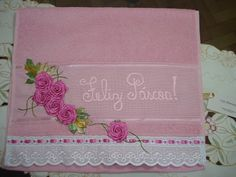 LOY HANDCRAFTS, TOWELS EMBROYDERED WITH SATIN RIBBON ROSES: Toalha bordada para Páscoa