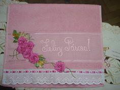LOY HANDCRAFTS, TOWELS EMBROYDERED WITH SATIN RIBBON ROSES: Toalha bordada para Páscoa