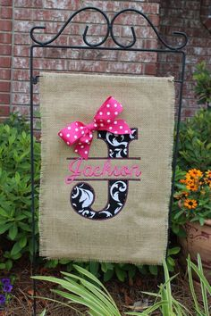 Monogrammed Garden Flags | Burlap monogrammed garden flag- Split letter with bow- you choose ...
