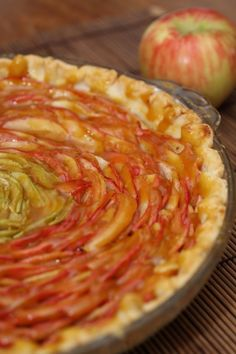 This is a fun dessert. We made our own crust from scratch, used a mandolin to cut the apples, seasoned them, arranged them in a circle #applepie