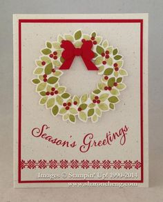 Throwing a Curve at Wonderous Wreath by Carol Chang. Video on how to do the curved greeting and punch art bow. Stamp sets by Stampin' Up!
