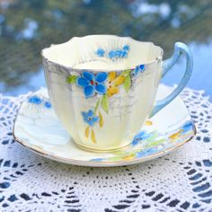 1920s-30s Art Deco Paragon Duo - Hand Painted 'Jasmine' Pattern Creamy Yellow Glaze - Fluted Tea Cup and Squared Saucer - English Bone China