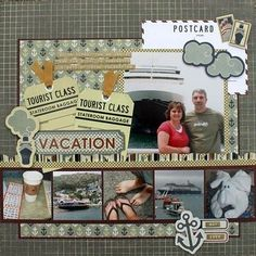 scrapbook travel layout - 6 photos versitile layout - rotate in any direction for nice effect Cruise Scrapbook Pages, Scrapbooking Album, Vacation Scrapbook, Scrapbook Sketches, Scrapbook Page Layouts, Scrapbook Paper Crafts, Scrapbook Cards, Digital Scrapbooking, Disney Scrapbook