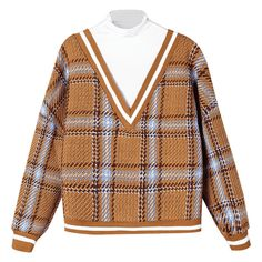 Plaid Contrast Trim Knitwear Deep Yellow (1.780 RUB) ❤ liked on Polyvore featuring tops, sweaters, knitwear sweater, yellow top, yellow sweater, beige top and beige sweater