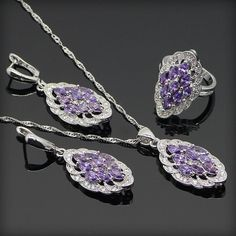 Purple Amethyst White Topaz 925 Sterling Silver Jewelry Sets For Women Necklace Pendant Ring Earring Free Gift Box&Free Shipping www.bernysjewels.com #bernysjewels #jewels #jewelry #nice #bags