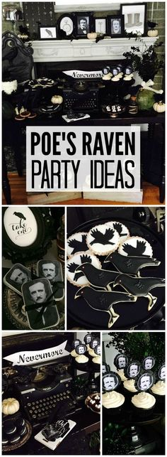 This gothic Halloween party is inspired by The Raven by Edgar Allan Poe! See more party ideas at CatchMyParty.com!