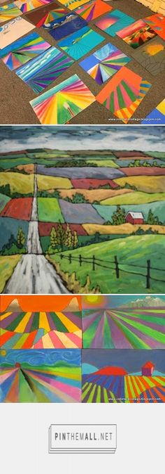 Farmland crop lines landscapes using perspective Middle School Art Projects, High School Art, Art Lessons For Kids, Art Lessons Elementary, Landscape Art Lessons, 8th Grade Art, Jr Art, Perspective Art, Virtual Art