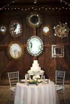 Barn wedding sweetheart table with mirrors behind. Farm Wedding, Chic Wedding, Wedding Blog, Wedding Events, Dream Wedding, Wedding Ideas, Wedding Stuff, Wedding Wishes, Gold Wedding