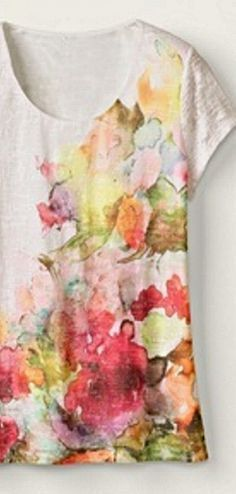 """DIY """"Monet Top""""- use colored Sharpie markers and rubbing alcohol to obtain a beautiful watercolor effect"""