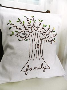 What a unique idea!  A personalized handmade family tree embroidery.  If you don't embroider, you could even use markers on paper & frame it.  I guess it helps to have enough family members to make it look like tree branches???  (And don't forget to add the family cat and/or dog!)     :-)