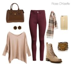 """""""Cute Fall Outfit"""" by rose-okeeffe ❤ liked on Polyvore featuring H&M, Frye, Burberry, Sif Jakobs Jewellery and Valentin Magro"""