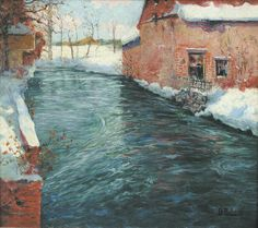 SPRING THAW by Fritz Thalow (1847-1906) oil on canvas