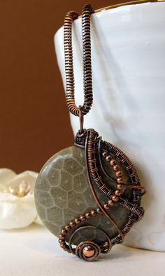 Round Wire Wrapped Pendant, Fossil Coral and Antiqued Copper Asymmetrical Wire Weave Pendant, Handmade Unique Jewelry, Gift for Her