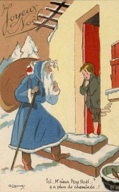 Santa wears blue in this vintage French Christmas card.