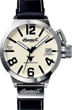 Click Image Above To Buy: Ingersoll Mens Bison No. 6 Stainless Watch - Black Leather Strap - White Dial - In8900scr