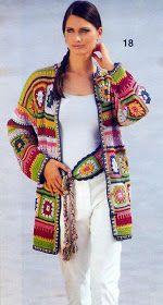 """Crochet Granny Square Jacket C"", ""~ lots of granny square photos;"", ""Brilliant 'granny' jacket::: Love the combination of colors."", ""This desig Cardigan Au Crochet, Gilet Crochet, Crochet Coat, Crochet Jacket, Freeform Crochet, Crochet Shawl, Crochet Clothes, Crochet Stitches, Crochet Patterns"