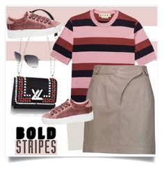 """""""Bold Stripes"""" by nantucketteabook ❤ liked on Polyvore featuring Marni, Carven, Steve Madden and BoldStripes"""