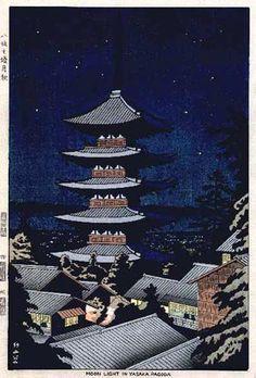 Moonlight at Yasaka Pagoda  by Takeji Asano, 1953  (published by Unsodo)