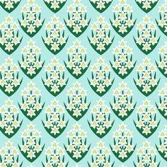 CLOVER FLOWER Fabric Fat Quarter Cotton Craft Quilting ART DECO Style