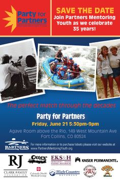Party for Partners is June 21, 2013 in the Agave Room above the Rio. Tickets can be purchased on our website.