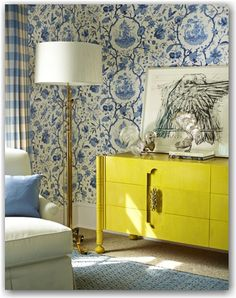 dated dresser painted high gloss yellow. Wow!