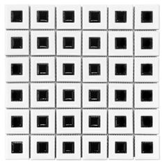 <p>This 12in. x 12in. White with Black Square Porcelain Mosaic has a contemporary finish.</p><p>Porcelain tiles are strong and long-lasting making them ideal for use in high-traffic or outdoor living areas. Porcelain is an excellent choice to decorate your walls or floors, and comes in a variety of colors, sizes and textures. With proper installation, porcelain tiles can last for years with very little maintenance.</p>