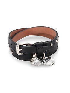 0429db46534 Alexander McQueen - Double-Wrap Leather Bracelet - Saks.com