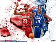 What if Kobe & LeBron went to college?  Kobe in Duke uni vs LeBron in OSU. Blue Mamba vs Chosen One Wallpaper