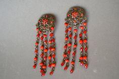 pendientes largospiedras rojasplateado colorclip por Limbhad