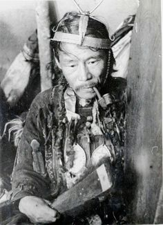 Behind the scenes photo from the production of a Soviet film from the 1930s, which featured this Evenk shaman as one of the characters.