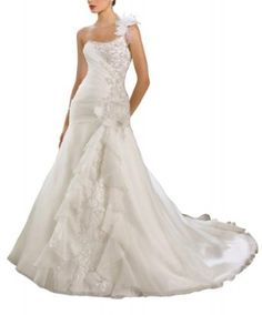 Georgebride#Elegant#oneshoulderbeadedsatin#weddingdress#clothing